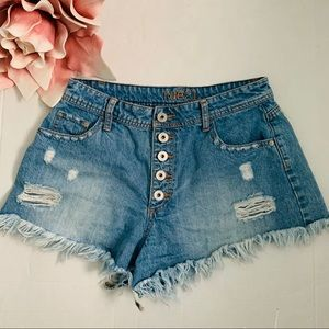 Rue 21 High Waist Distressed Blue Jean Shorts